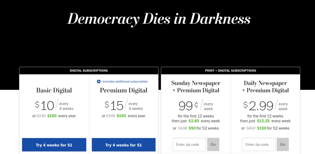 Washington Post Subscription Sign-Up Pages